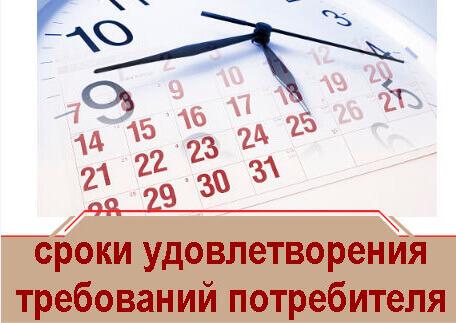 сроки удовлетворения требований потребителя